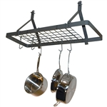 Ceiling Mount Rectangle Pot Rack in Hammered Steel