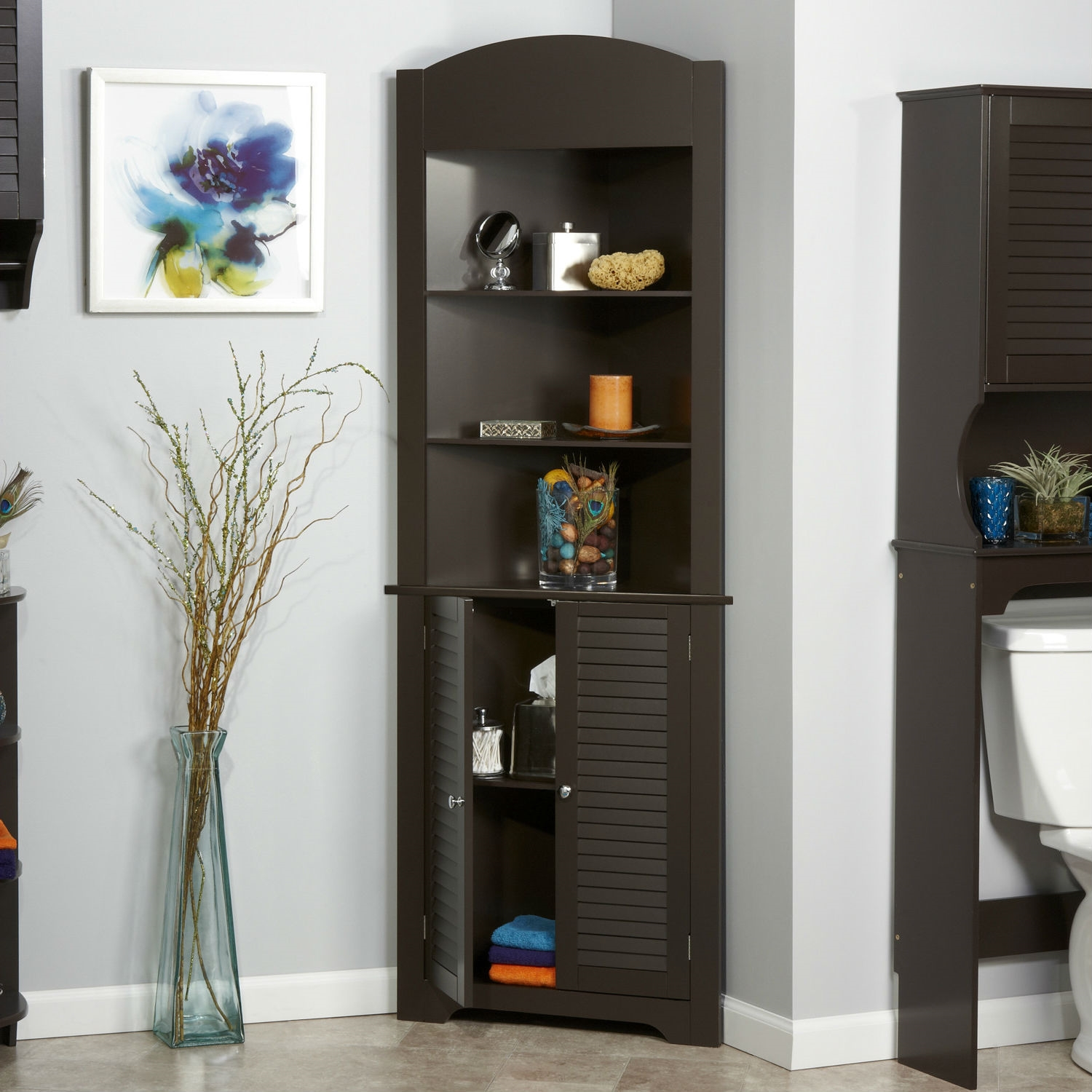 Espresso bathroom linen tower corner towel storage cabinet with 3 open shelves Bathroom corner cabinet storage
