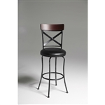 Black and Cherry 30-inch Metal and Wood Bar Stool with Swivel Seat