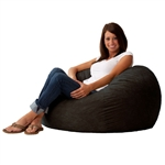 Black Suede Medium 3-Foot Bean Bag Chair - Made in USA