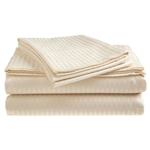 Full size Dobby Stripe Sateen Sheet Set in Beige Microfiber