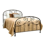 King size Metal Bed with Headboard and Footboard in Rusty Gold Finish
