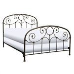Queen size Metal Bed with Headboard and Footboard in Rusty Gold Finish