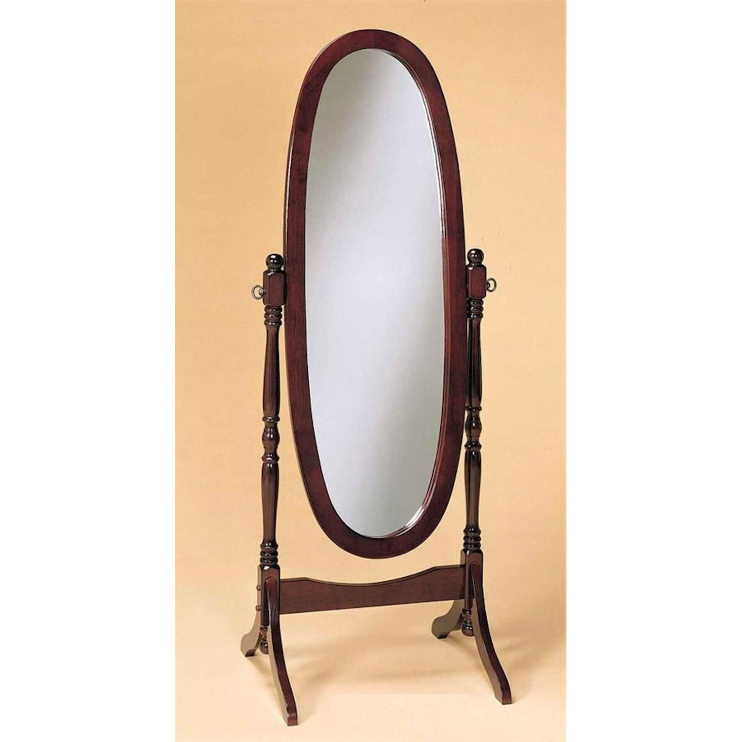 Cherry finish cheval mirror full length solid wood floor for Mirror video