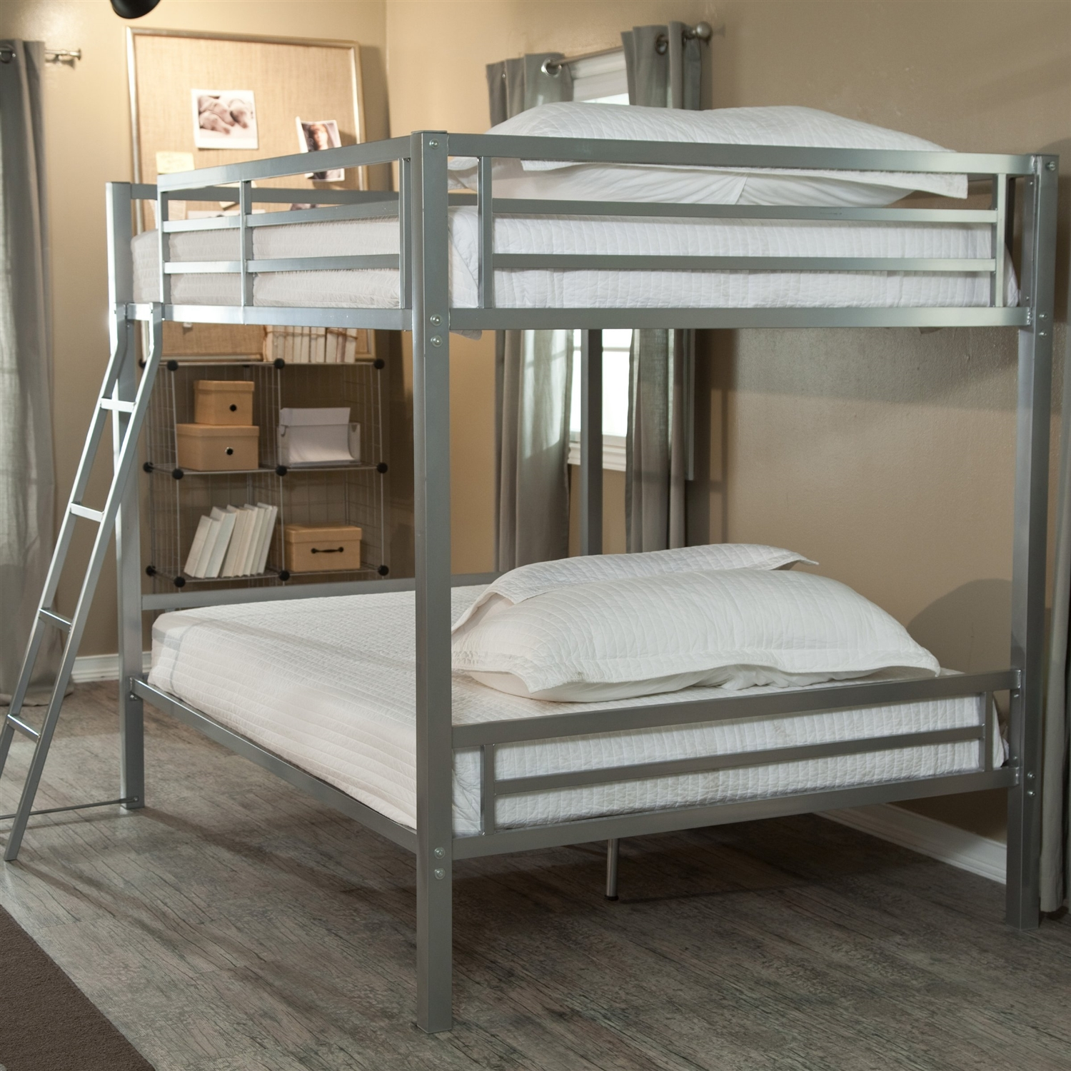 Metal bunk beds full over full - Full Over Full Size Bunk Bed With Ladder In Silver Metal Finish