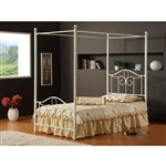 Full size Traditional Metal Canopy Bed in Off White Finish