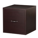 Solid Wood Frame Modular File Cabinet Storage Cube in Espresso