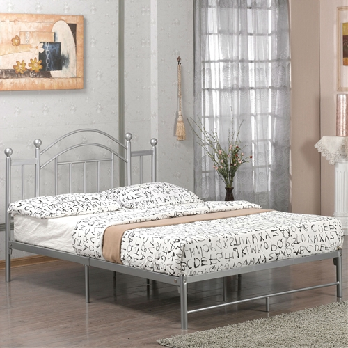 full size metal platform bed frame with headboard and footboard in silver. Black Bedroom Furniture Sets. Home Design Ideas