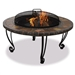 Marble and Slate 34-inch Fire Pit with Copper Accents and Wrought Iron Stand