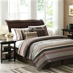 Full / Queen Red Cream Espresso Leaf Stripped 5 Piece Quilt Coverlet Set