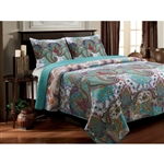 Full / Queen Teal Paisley 3-Piece Quilt Set in 100-Percent Cotton