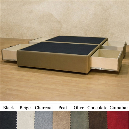 Full size charcoal microfiber upholstered platform bed for Upholstered platform bed with drawers
