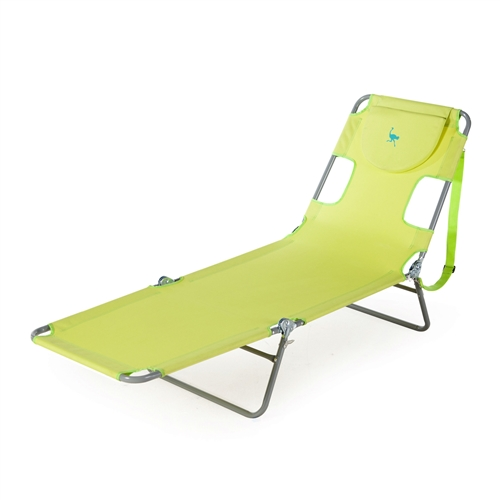 Green chaise lounge beach chair recliner with cotton towel for Chaise lounge beach towels
