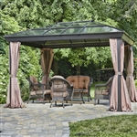 12-ft x 16-ft Year-Round Use Gazebo with UV Blocking Panels Canopy and Curtains