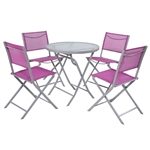 Red 5-Piece Folding Chairs and Table Outdoor Patio Furniture Set