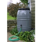 Grey 60-Gallon Rain Barrel with Lid in HDPE Food Grade Plastic Resin