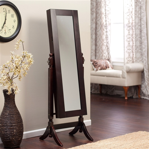 Jewelry armoire and full length tilting mirror in espresso brown wood