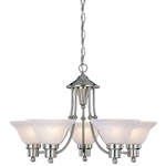 5-Light Brushed Nickel Chandelier with White Frosted Shades
