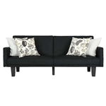 Modern Black Microfiber Upholstered Sofa Bed with Classic Wood Feet