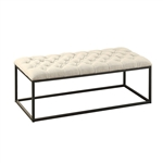 Beige Fabric Padded Button-Tufted Ottoman Accent Bench with Metal Frame
