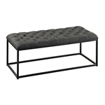 Grey Fabric Padded Button-Tufted Ottoman Footrest Bench