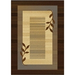 Royalty Collection Brown/Blue Modern Area Rug with Vine Leaves Design