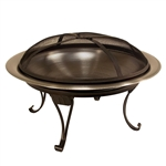 Heavy Duty 26-inch Stainless Steel Fire Pit Bowl with Stand Screen and Carry Case