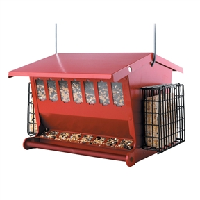 Red Metal House Shaped Bird Feeder with Heavy Duty Hanger