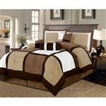 Queen size 7-Piece Bed in a Bag Patchwork Comforter set in Brown White