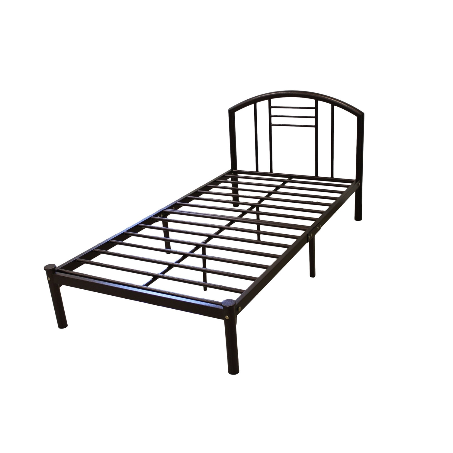 Full size Metal Platform Bed Frame with Headboard in Bronze Finish