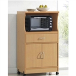 Beech Wood Microwave Cart Kitchen Cabinet with Wheels and Storage Drawer