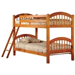 Twin over Twin Bunk Bed with Ladder n Honey Oak Wood Finish