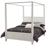 Queen size Canopy Bed in Contemporary White Wood Finish