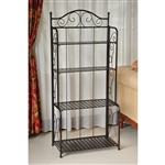 Indoor / Outdoor Folding Iron 4-Shelf Bakers Rack in Bronze with Lattice Shelves