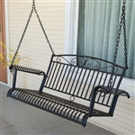 Wrought Iron Outdoor Patio 4-Ft Porch Swing in Black