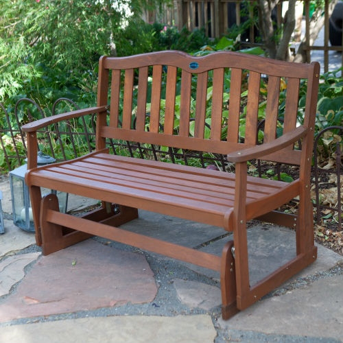 4 Ft Outdoor Loveseat Garden Bench Glider With Armrests In Natural Wood Finish