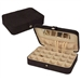 Black Faux Suede Jewelry Box Earring Cufflink Storage Case
