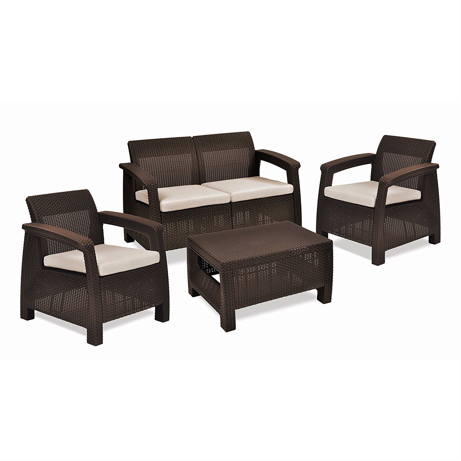 Brown Resin Wicker Patio Furniture Set with f White Cushions