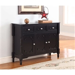 Solid Wood Black Finish Sideboard Console Table with Storage Drawres