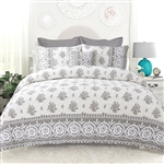 King 4-Piece Reversible Floral Cotton Quilt Set with Decorative Pillow and 2 Shams