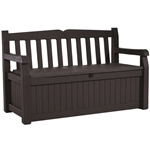 Outdoor Garden Bench with Arm Rest and Storage Box in Dark Brown
