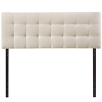 King size Off-White Ivory Fabric Button-Tufted Upholstered Headboard