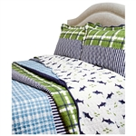 King Navy Blue Green Plaid Shark Theme Reversible 3 Piece Coverlet Quilt Set