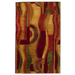 8' x 10' Abstract Area Rug with Red Wine Green and Yellow Colors