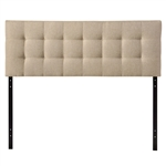 King size Beige Fabric Upholstered Mid-Century Style Headboard