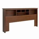 King size Bookcase Headboard with Adjustable Shelf in Cherry Finish