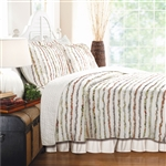 King 100% Cotton 3-Piece Oversized Quilt Set with Ruffle Stripes