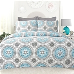 King size 3-Piece Cotton Quit Set in Aqua Blue White and Grey Floral Pattern