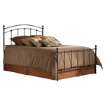 King size Matte Black Metal Bed with Headboard and Footboard
