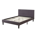 King Grey Linen Upholstered Platform Bed with Tufted Padded Headboard